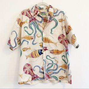 Reyn Spooner Hawaiian Shirt with Fish and Octopus